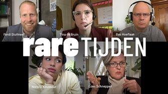 Een foto van de cast van de webserie Rare Tijden met Tina de Bruin