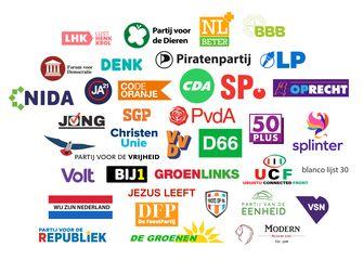 Een illustratie met alle partijen die meedoen aan de verkiezingen