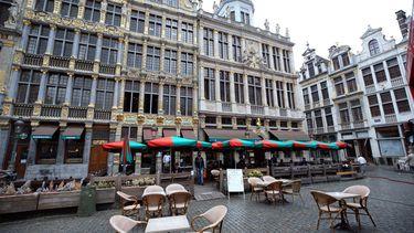 Een leeg terras in Brussel