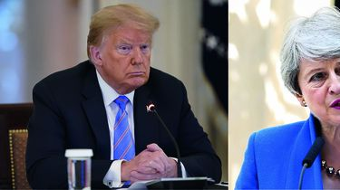 Op deze foto zie je Trump en May
